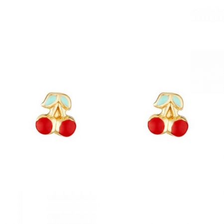Boucles d'oreilles cerise en Or Jaune 375