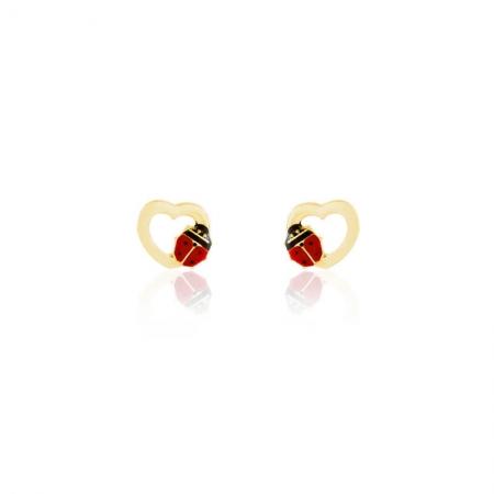 Boucles d'oreilles coeur avec coccinelle en Or Jaune 375