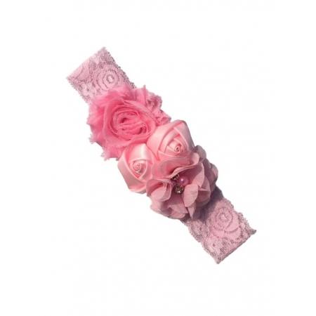 Bandeau fleuri en dentelle rose