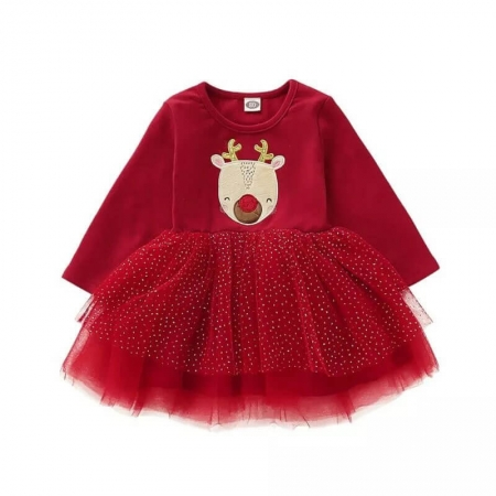 Robe rouge tulle cerf de Noël