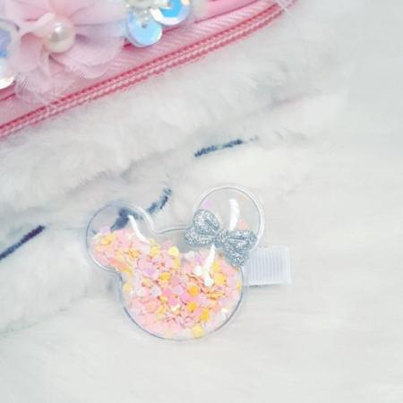 Barrette minnie confettis roses