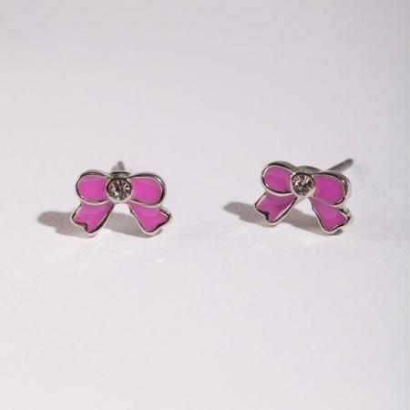 Boucles d'oreilles noeud rose