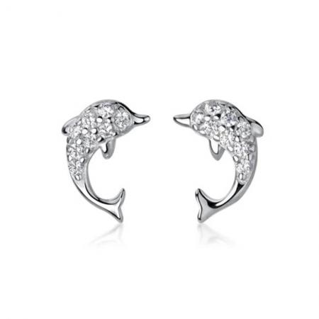 Boucles d'oreilles dauphin en Argent 925