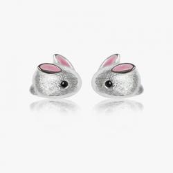 Boucles d'oreilles enfant lapin en Argent 925