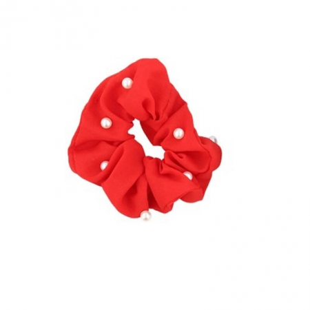 Chouchou rouge perles blanches