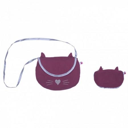 Sac bandoulière + son porte monnaie chat framboise/argent