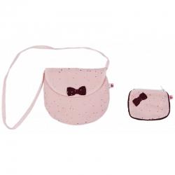 Sac bandoulière + son porte monnaie blush/prune et pois or