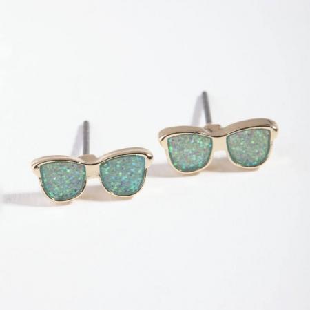 Boucles d'oreilles lunettes soleil rose