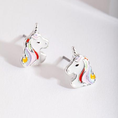 Boucles d'oreilles licorne multicolore