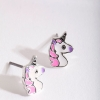 Boucles d'oreilles licorne rose