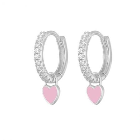Boucles d'oreilles créole avec coeur en Argent 925
